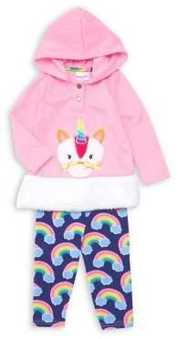 Nannette Little Girl's Two-Piece Faux Fur Unicorn & Rainbows Hoodie & Pants Set