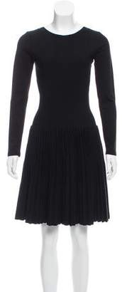 Alaia Plisse Fit & Flare Dress