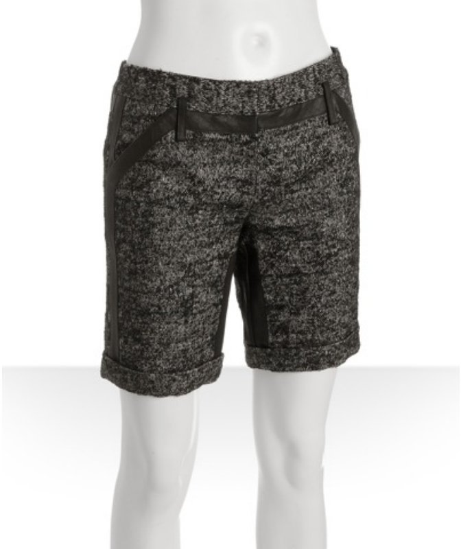 Proenza Schouler black tweed linen-wool tailored shorts