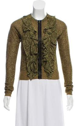 Lanvin Metallic Zip-Up Cardigan
