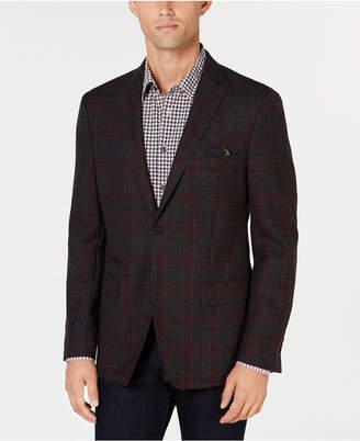 Tallia Men Big & Tall Slim-Fit Charcoal Plaid Wool Sport Coat