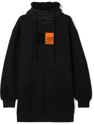 Sjyp Oversized Flocked Cotton-jersey Hoodie