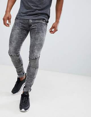 Soul Star Skinny Stretch Paneled Marble Effect Jeans