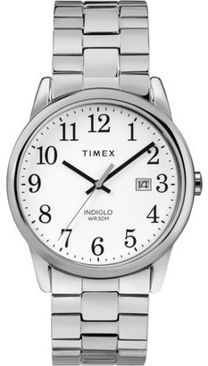 Timex Men's Easy Reader Silver-Tone/White Watch, Stainless Steel Expansion Band