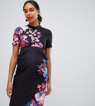 Little Mistress Maternity 2 in 1 pencil dress in floral print