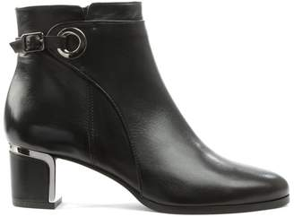 Daniel Enthusiastic Black Leather Metal Trim Buckle Ankle Boot