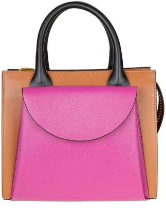 Marni Low Hand Bag In Fuchsia And Leather Color Leather