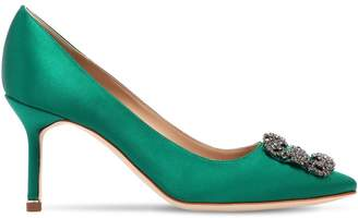Manolo Blahnik 70mm Hangisi Swarovski Silk Satin Pumps