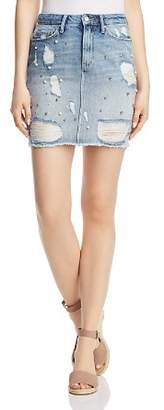 Mavi Jeans Frida Destructed Denim Skirt in Light Ripped Pearl