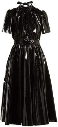 MSGM Bow-back PVC midi dress