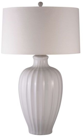 Lighting Enterprises Wide Ribbed White Table Lamp