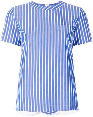 Sacai rear zip pinstriped shirt