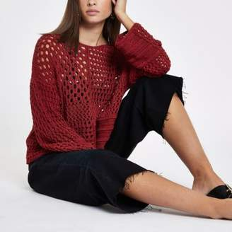 River Island Rust crochet knit boxy sweater