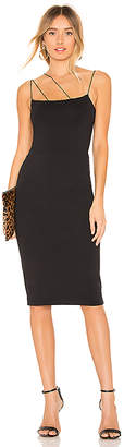 David Lerner Asymmetrical Strap Midi Dress
