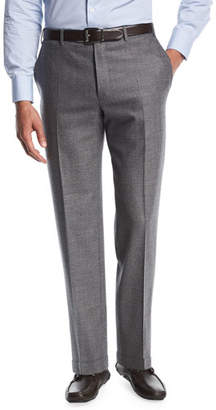 Canali Twill Flannel Flat-Front Trousers