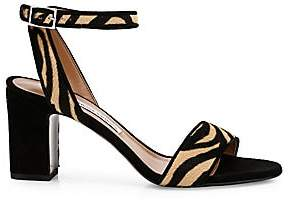 Tabitha Simmons Women's Leticia Zebra-Print Calf Hair Ankle-Strap Sandals