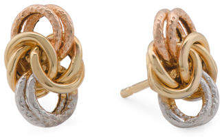 Made In Italy Tricolor 14k Gold Byzantine Love Knot Earrings