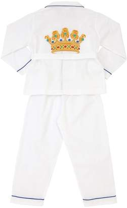 Loretta Caponi Hand-Embroidered Cotton Pajama Set
