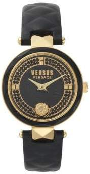 Versace Stainless Steel Leather-Strap Watch