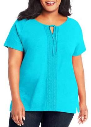 Just My Size Women's Plus Split Neck Lace Detail Top