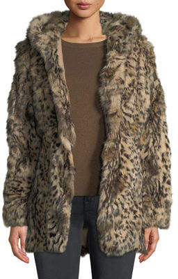 Adrienne Landau Leopard-Print Hooded Rabbit Fur Coat