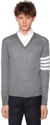 Thom Browne Merino Wool Knit V-neck Sweater