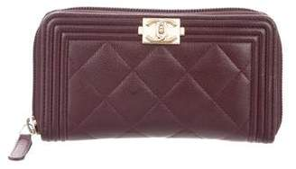 Chanel Small Quilted Boy L-Gusset Zip Wallet