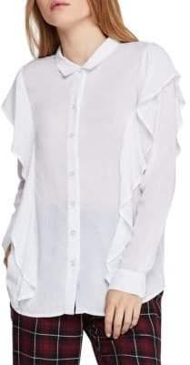 BCBGeneration Ruffled Button-Down Shirt