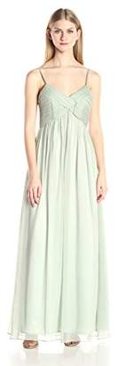Minuet Women's CRIS-Cross Rouched Bodice Long Gown