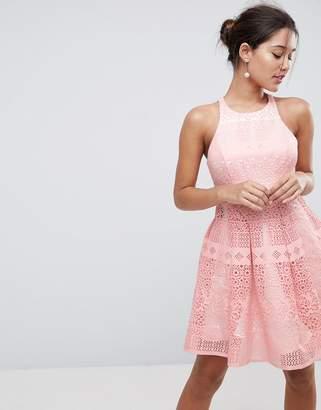 Asos DESIGN SALON Laser Cut Mini Prom Dress