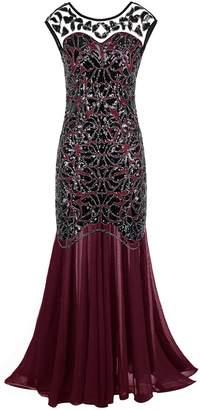 4c1f2aa25426 PrettyGuide Women 's 1920s Black Sequin Gatsby Maxi Long Plus Size Evening  Prom Dress XXL
