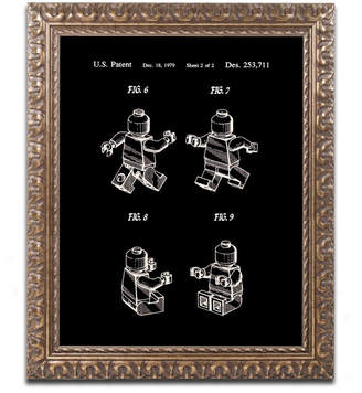 "Lego Claire Doherty 'Lego Man Patent 1979 Page 2 Black' Ornate Framed Art - 11"" x 14"""