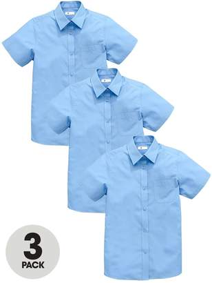Very Schoolwear Girls Short Sleeve School Blouses - Blue (3 Pack)