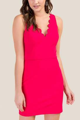 francesca's Taylor Fitted Neck Sheath Dress - Neon Pink