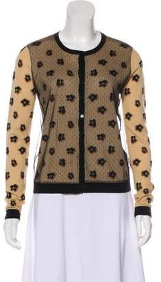RED Valentino Leopard Pattern Laced Cardigan