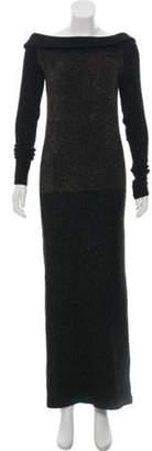 Fendi Textured Long Sleeve Maxi Dress Brown Textured Long Sleeve Maxi Dress