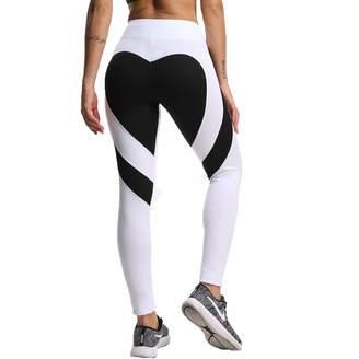 FITTOO Sexy High Waist Yoga Pants Heart Pattern Workout Leggings Black M