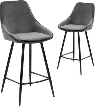 Webster Temple & Set of 2 67cm Nappa Velvet High Back Barstools