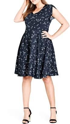 City Chic Sweet Tweet Fit & Flare Dress