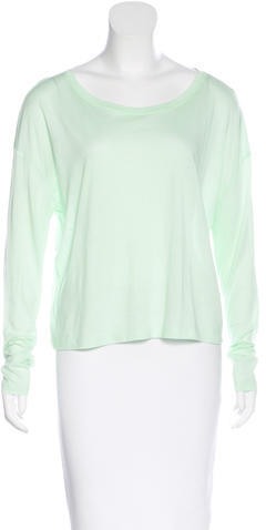 Alexander Wang T by Alexander Wang Long Sleeve Scoop Neck Top