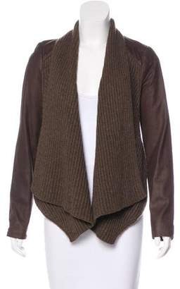 Vince Rib Knit-Trimmed Leather Jacket