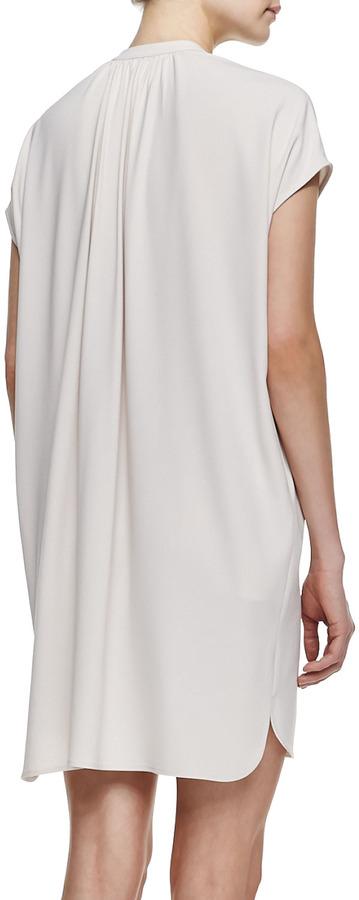 Vince Short-Sleeve Popover Dress, Beige