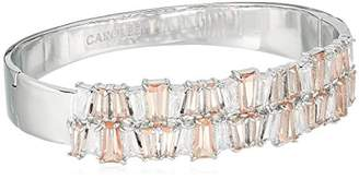 Carolee Blushing Bride Collection Women's Tapered Baguette Hinged Cuff Bracelet