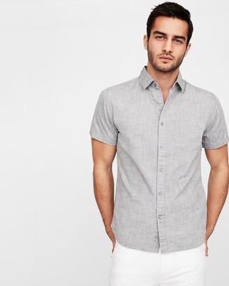 Express Slim Solid End On End Short Sleeve Shirt