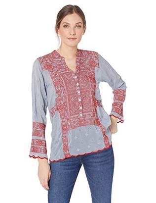 Johnny Was Women's Mandarin Collar Tunic with Embroidery