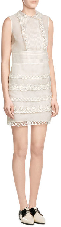 RED Valentino R.E.D. Valentino Silk Sheath with Sheer Eyelet Trim