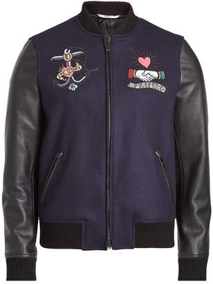 Valentino Embroidered Wool Bomber Jacket with Leather Sleeves