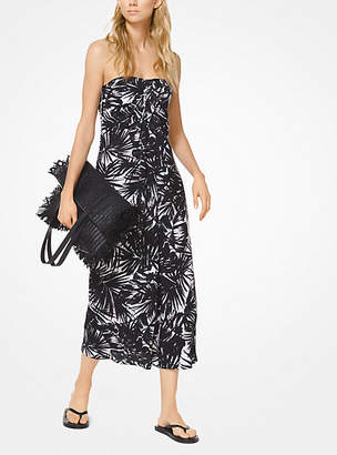 Michael Kors Leaf Silk-Chiffon Strapless Dress