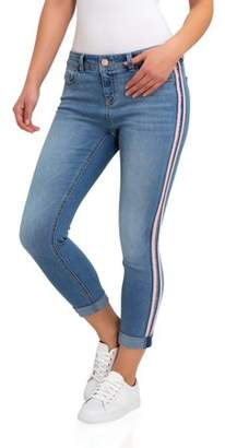 Jordache Women's Super Soft Mid Rise Skinny Jeans with Side Tape