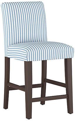 One Kings Lane Shannon Counter Stool - Blue Stripe Linen